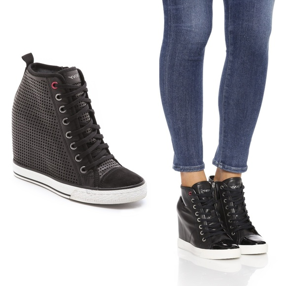 6ea6c65e91d Dkny Shoes - DKNY Black Wedge Heel Sneakers Ankle Boots